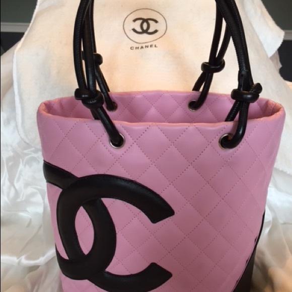 CHANEL Handbags - Chanel Purse Pink Black Logo Auth Ligne Cambon 15cab71be9325